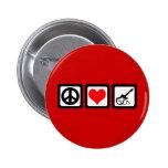 Peace love guitar pinback button