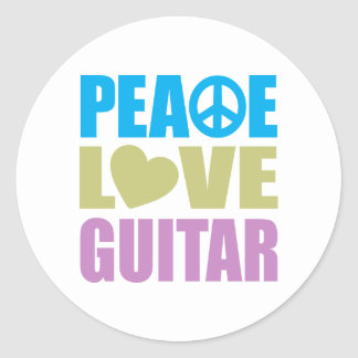 Peace Love Guitar Round Stickers