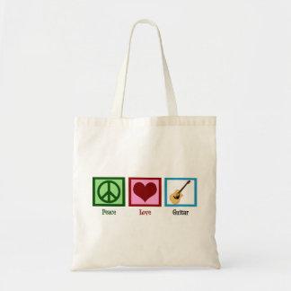 Peace Love Guitar Tote Bag