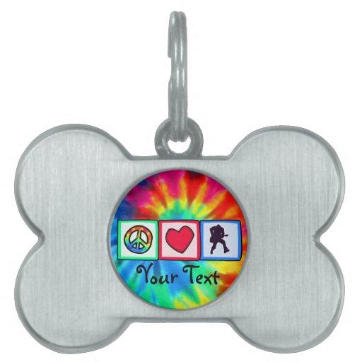 Peace, Love, Guitars Pet Tags
