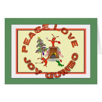 Peace Love Gumbo Cajun Christmas Greeting Card