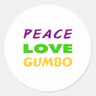 PEACE LOVE GUMBO CLASSIC ROUND STICKER