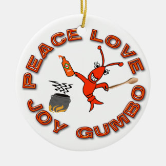 Peace Love Gumbo/Fleur de Lis Crawfish Ornament