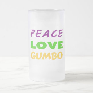 PEACE LOVE GUMBO FROSTED GLASS BEER MUG