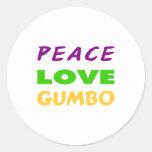 PEACE LOVE GUMBO ROUND STICKERS