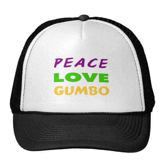 PEACE LOVE GUMBO TRUCKER HAT