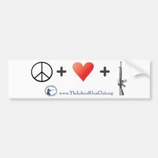 Peace + Love + Guns Car Bumper Sticker