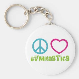 Peace Love Gymnastics Basic Round Button Keychain