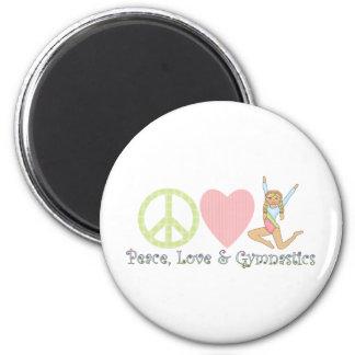 peace love gymnastics blonde 2 inch round magnet