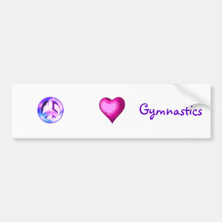 """Peace Love Gymnastics"" bumper sticker"