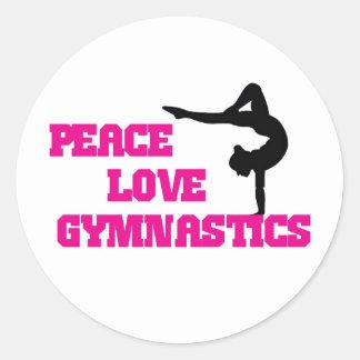 Peace, Love, Gymnastics Classic Round Sticker