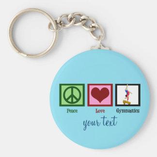 Peace Love Gymnastics Custom Cute Blue Keychain
