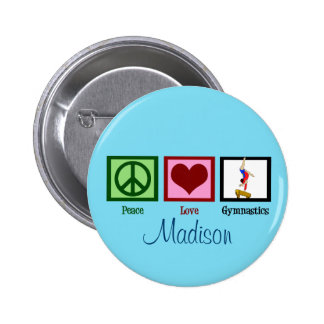 Peace Love Gymnastics Custom Cute Pinback Button