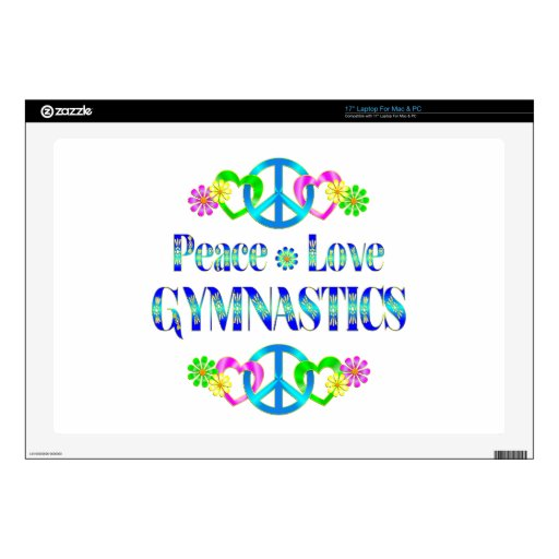 "Peace Love Gymnastics Decals For 17"" Laptops"