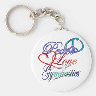 Peace, Love, Gymnastics Keychain