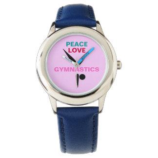 Peace Love Gymnastics Kids Adjustable Bezel Watch