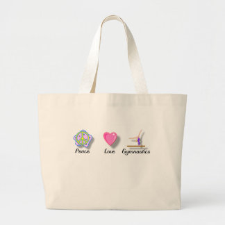 Peace Love Gymnastics Large Tote Bag