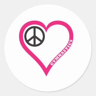 Peace Love Gymnastics Necklace Notebook Personaliz Classic Round Sticker