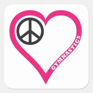Peace Love Gymnastics Necklace Notebook Personaliz Square Sticker