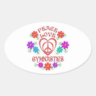 Peace Love Gymnastics Oval Sticker