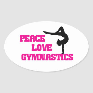 Peace, Love, Gymnastics Oval Sticker