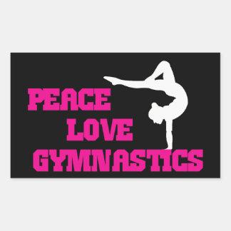 Peace, Love, Gymnastics Rectangular Sticker