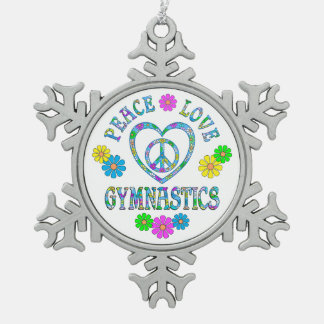 Peace Love Gymnastics Snowflake Pewter Christmas Ornament