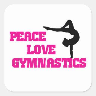 Peace, Love, Gymnastics Square Sticker