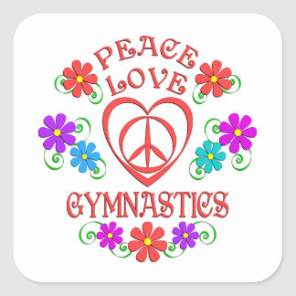 Peace Love Gymnastics Square Sticker
