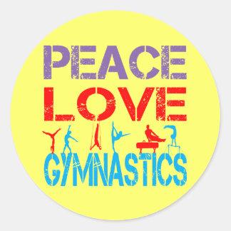 PEACE LOVE GYMNASTICS ROUND STICKERS