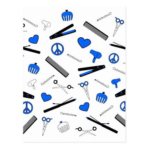 Peace, Love, & Hair Accessories (Bright Blue) Postcard