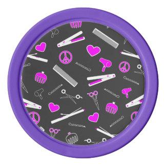 Peace, Love, & Hair Accessories (Fuchsia Dark) Poker Chips Set
