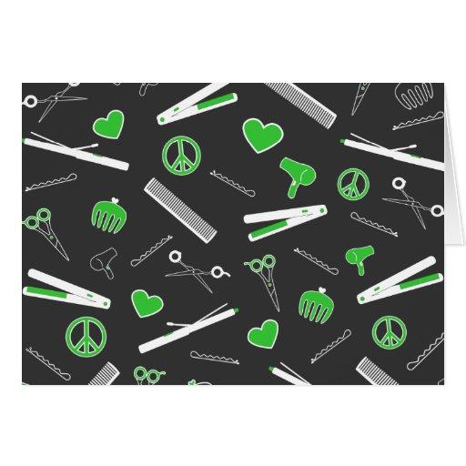 Peace, Love, & Hair Accessories (Green Dark) Greeting Cards
