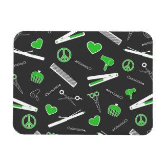 Peace, Love, & Hair Accessories (Green Dark) Magnet