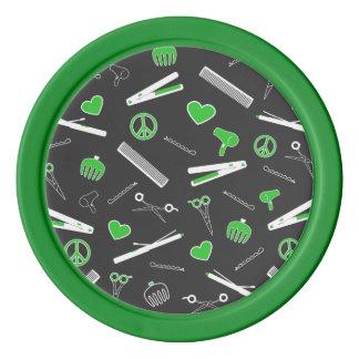 Peace, Love, & Hair Accessories (Green Dark) Poker Chips Set