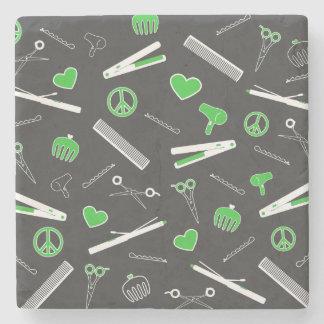 Peace, Love, & Hair Accessories (Green Dark) Stone Coaster