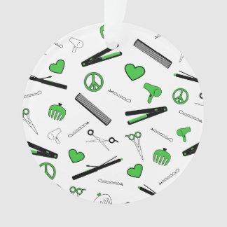 Peace, Love, & Hair Accessories (Green) Ornament