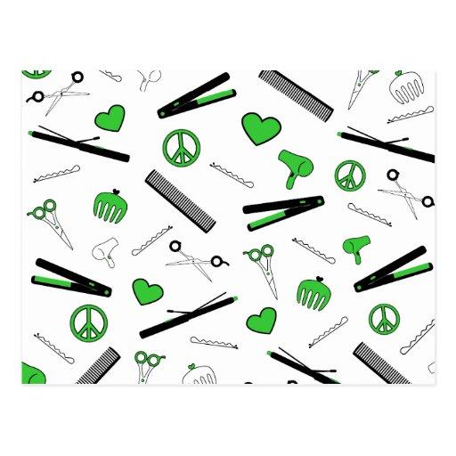 Peace, Love, & Hair Accessories (Green) Postcard