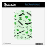 Peace, Love, & Hair Accessories (Green) iPod Touch 4G Decal
