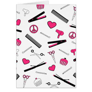 Peace, Love, & Hair Accessories (Pink) Greeting Card