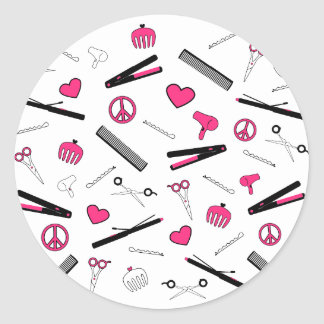 Peace, Love, & Hair Accessories (Pink) Classic Round Sticker