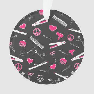 Peace, Love, & Hair Accessories (Pink Dark) Ornament