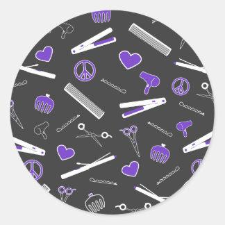 Peace, Love, & Hair Accessories (Purple Dark) Classic Round Sticker
