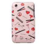 Peace, Love, & Hair Accessories (Red) Case-Mate iPhone 3 Cases