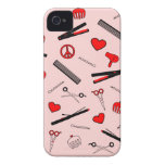 Peace, Love, & Hair Accessories (Red) iPhone 4 Case-Mate Cases