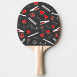 Peace, Love, & Hair Accessories (Red Dark) Ping Pong Paddle