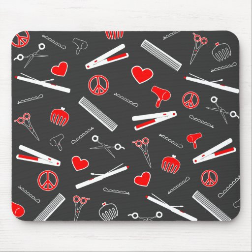 Peace, Love, & Hair Accessories (Red Dark) Mousepad