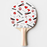 Peace, Love, & Hair Accessories (Red) Ping Pong Paddle