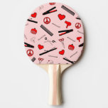 Peace, Love, & Hair Accessories (Red) Ping-Pong Paddle