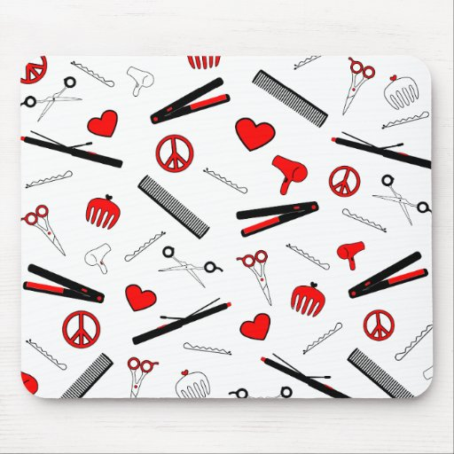 Peace, Love, & Hair Accessories (Red) Mouse Pad